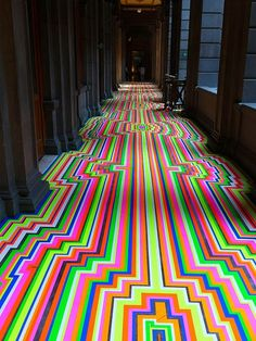 Taped-Up. Eye-popping floor design made from vinyl tape at the Museo Nacional de Arte (MUNAL)(English: National Museum of Art) of Mexico City.