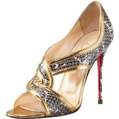 Christian Louboutin Suzanna Snake Red Sole Sandal ($795) ❤ liked on Polyvore