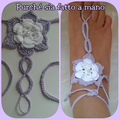 Barefoot Sandals Crochet - Cavigliere con fiore a rilievo all'uncinetto