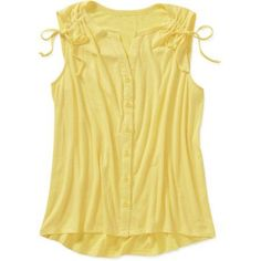 Fourteenth Place Women's Button Front Top, Size: Large, Yellow