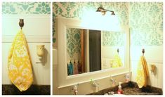 Amazing bathroom remodel on a budget from Lolly Jane; stencils, paint, turquoise, teal