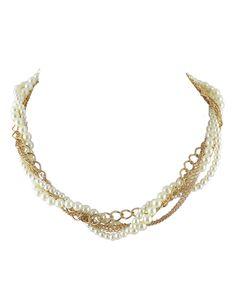 Collar de moda perla -dorado 5.15
