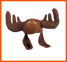 Brown Plush Crazy Moose Hat with Antlers and Chin Strap - Fun stuff and gift ideas (*Amazon Partner-Link)