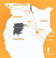is East Africa's premier low cost airline offering low fares on scheduled flights all year round to destinations within Kenya, South Sudan and Zanzibar. Tanzania, Kenya, Mombasa, Great Names, East Africa, Uganda, Juices, Countryside, Maps