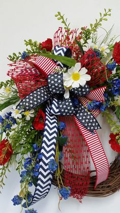 Red White & Blue Patriotic Floral Grapevine Wreath Patriotic