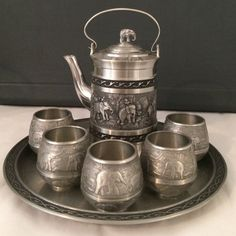 Thai Elephany tea set ($100 via PP only) In used condition, still has lots of life. Houseware Accessories