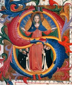 ANGELICO, Fra Madonna of Mercy with Kneeling Friars c. 1424 Tempera and gold on parchment, 475 x 350 mm Museo di San Marco, Florence