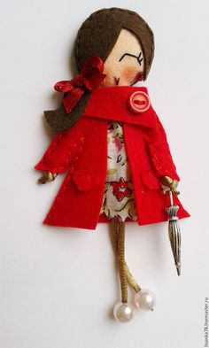 Купить Брошь-куколка из фетра - ярко-красный, брошка куколка, брошки из фетра, броши на заказ