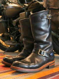 MOTOR CHROMEXCEL LEATHER1ST MODEL ENGINEER BOOTS BLACK ( 2years age )