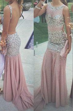 pink prom dress,long prom dress,mermaid prom dress,2017 prom dress, open back prom dress