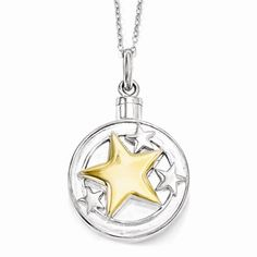 Sterling Silver & Gold-plated Your Brightest Star Ash Holder 18in. Necklace Item #: QSX574 | Available to order at Andrew Gallagher Jewelers (302) 368-3380. Call for exact pricing information.
