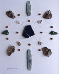 CONFIDENCE TRUST BELIEVE --- framed sacred crystal grid -
