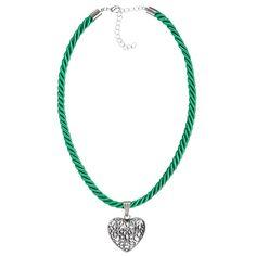 Hellgrüne Kordelkette mit Herzanhänger von Schlick Accessoires