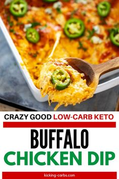 Anytime I can entertain without a lot of effort I am ecstatic. Keto Buffalo Chicken Dip is one of my go-to appetizers. It is the perfect low carb option for game day.  #glutenfreerecipes #healthyglutenfree #diprecipes #buffalochickendip