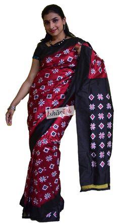 Ikat pure silk saree SKU: ISB5181 Contact : +918861255270 ishanisarees@gmail.com www.facebook.com/ishanisarees