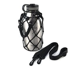 Paracord Water Bottle Holder for Hydro Flask Growler - Made by Gearproz, America's Most Trusted Brand in Hydro Flask Accessories and Water Bottle Carriers (Black)