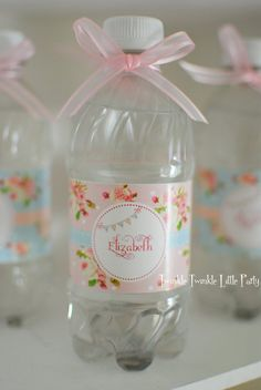 Pink Floral Shabby Chic Printable Water Labels by twinklelittleparty