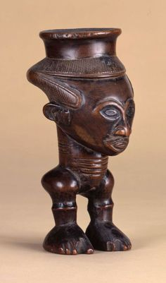 Africa | Figurative Palm Wine Cup from the Kuba peoples, Democratic Republic of the Congo | Wood | ca. 19th century