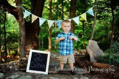 2 year old boy photo shoot with banner Johnson Branch Photography
