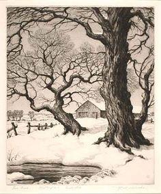 Two Trees by R. W. Woiceske 1937 / American Art