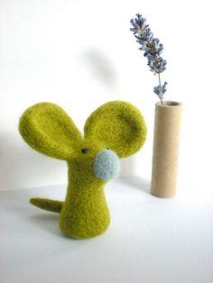 Green Felt Mouse - Needle Felted Light Olive Mouse Sculpture