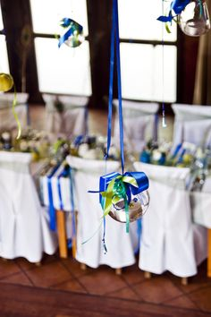Wedding Decoration with flying tea lights and apples