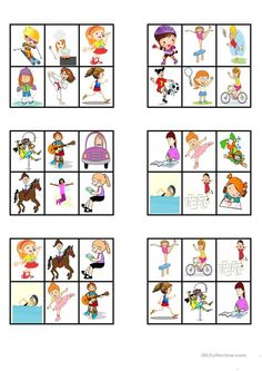 "BINGO - ""Action verbs"" - English ESL Worksheets for distance learning and physical classrooms Teaching French, Teaching Spanish, Teaching English, Oral Motor Activities, Speech Activities, Printable Board Games, Action Verbs, English Games, French Classroom"