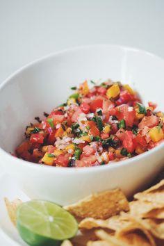 watermelon peach salsa (VEGAN)   RECIPE on hotforfoodblog.com