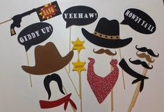 Western Photo Booth Props/ Howdy Cowboy/ Giddy Up! Check out this item in my Etsy shop https://www.etsy.com/listing/225398499/16-piece-howdy-cowboy-photo-booth-party