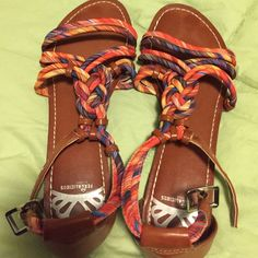 Multi coloured sandal Multi coloured sandal with leather back and tan leather strap worn once for a very short time Fergalicios Shoes Sandals