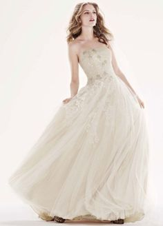 Tulle Ballgown with Champagne Lining and Beading - Wedding Dresses by Oleg Cassini - Loverly