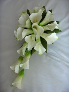 post your bouquet - Weddingbee-Boards Lily Bouquet Wedding, Calla Lily Bouquet, Calla Lillies, White Wedding Bouquets, Bride Bouquets, Trailing Bouquet, Artificial Wedding Bouquets, Flower Arrangements Simple, Funeral Flowers