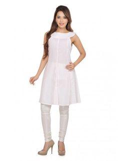 White Cotton Short Kurti