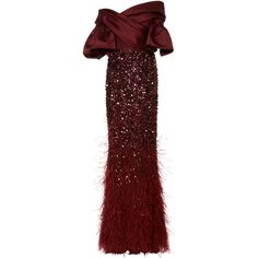 Elizabeth Kennedy Off The Shoulder Gown With Feather Embroidery ($15,850) ❤ liked on Polyvore featuring dresses, gowns, burgundy, red ball gown, red wrap dress, off shoulder gowns, burgundy gown and off shoulder evening dress