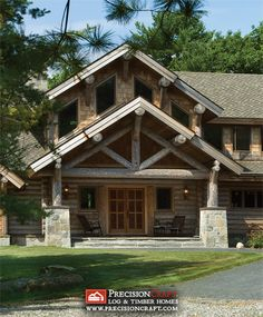 Entry into a Milled Log Home | PrecisionCraft Log Homes by PrecisionCraft Log Homes & Timber Frame, via Flickr