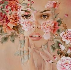 Floral Woman flower pink art fantasy floral roses painting woman illustration
