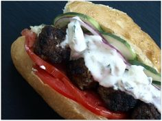 Lamb Meatball Sandwiches with Mint Yogurt Sauce by Evil Chef Mom
