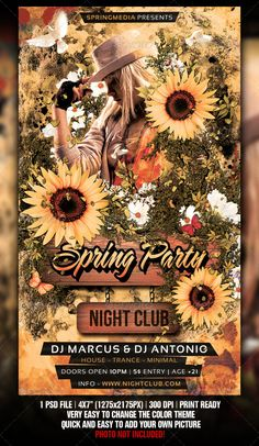 Spring / Summer Party Flyer — Photoshop PSD #modern #new • Available here → https://graphicriver.net/item/spring-summer-party-flyer/1869200?ref=pxcr