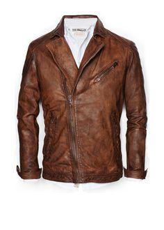 Vintage look leather biker jacket - Men Vintage Leather, Leather Men, Leather Jackets, Brown Leather, Custom Leather, Cargo Jacket Mens, Bomber Jacket, Revival Clothing, Outfits