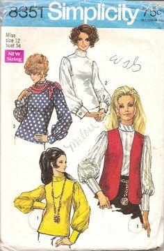 Vintage Sewing Pattern 1960s Madmen Blouse by TenderLane on Etsy, $9.00