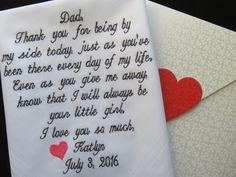 Father of the Bride Hankerchief-Wedding Handkerchief-Embroidered Customized-Wedding hankies-Father in Law-Wedding Gift-Dad of the Bride Gift