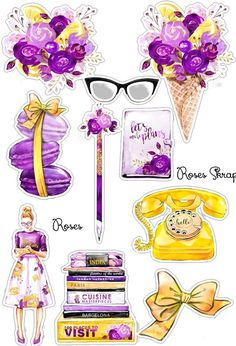 Purple and Golden yellow fashion stickers Tumblr Stickers, Cute Stickers, Free Planner, Happy Planner, Decoupage, Diy And Crafts, Paper Crafts, Printable Planner Stickers, Aesthetic Stickers