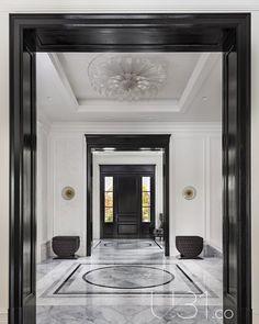 Hallway and Marble Floor Foyer Photo 1 of 15 in Country Estate by Design - N. Hallway and Marble Floor Foyer Photo 1 of 15 in Country Estate by Design – New House! Hallway Designs, Foyer Design, Lobby Design, Entrance Design, House Design, Design Design, Hall Design, Design Hotel, Entryway Flooring