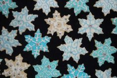 Snowflake cookies from 2009 cookie exchange. I use a standard royal icing recipe to decorate these cookies.