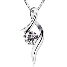 B.Catcher Necklaces 925 Sterling Silver Pendant Necklaces Cubic Zirconia Twist Heart Jewellery Just 16.99 #Save at least #50%off #sale
