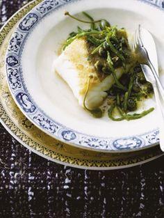 Kabeljauwfilet met zeekraal Een geliefd gerecht op de Britse eilanden: onweerstaanbare kabeljauwfilet met zeekraal en bruine kappertjesboter.