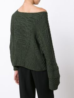 Baja East off-shoulder cable knit jumper