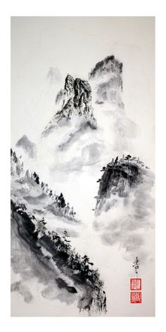 Tableau Peinture Japon Encre De Chine Fleurs Clair De Lune