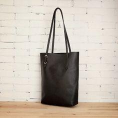 leather tote bag shoulder bag women tote bag black by CandyRuan, $68.00