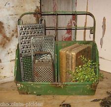 Green Metal BIN BASKET BOX*For Kitchen/Plant/Garden/Desk/Laundry/Mail Organizer